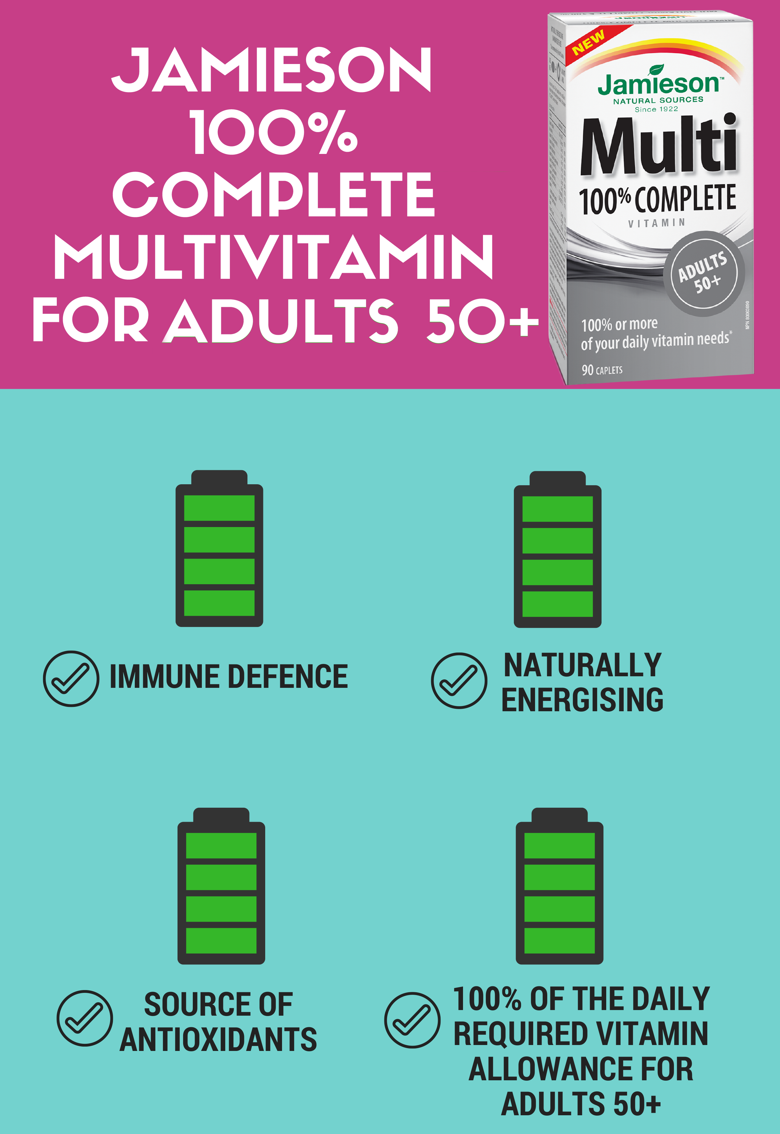 Jamieson 100% Complete Multivitamin for Adults 50+